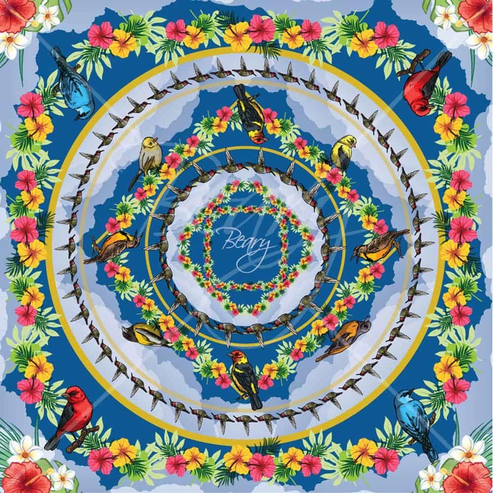 ผ้าพันคอ ลายสวนดอกไม้