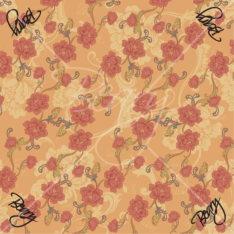 ผ้าพันคอ ลายดอกไม้แดง